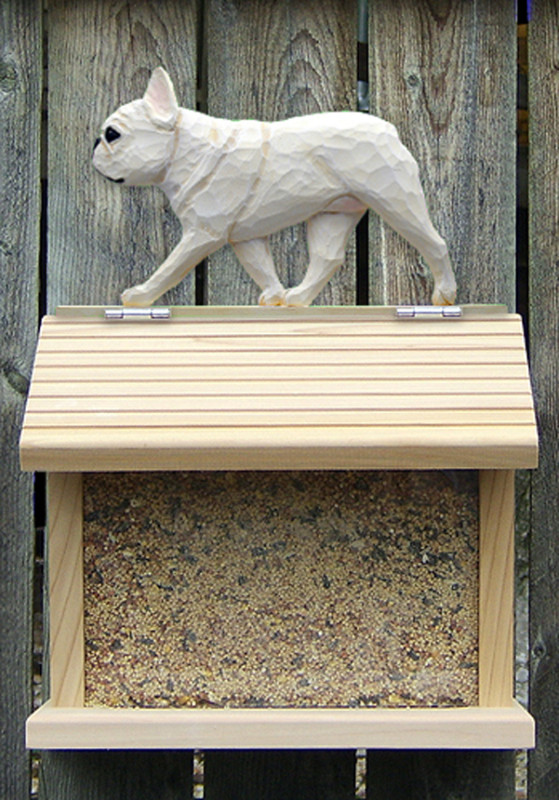 French Bulldog Hand Painted Dog Bird Feeder Cream