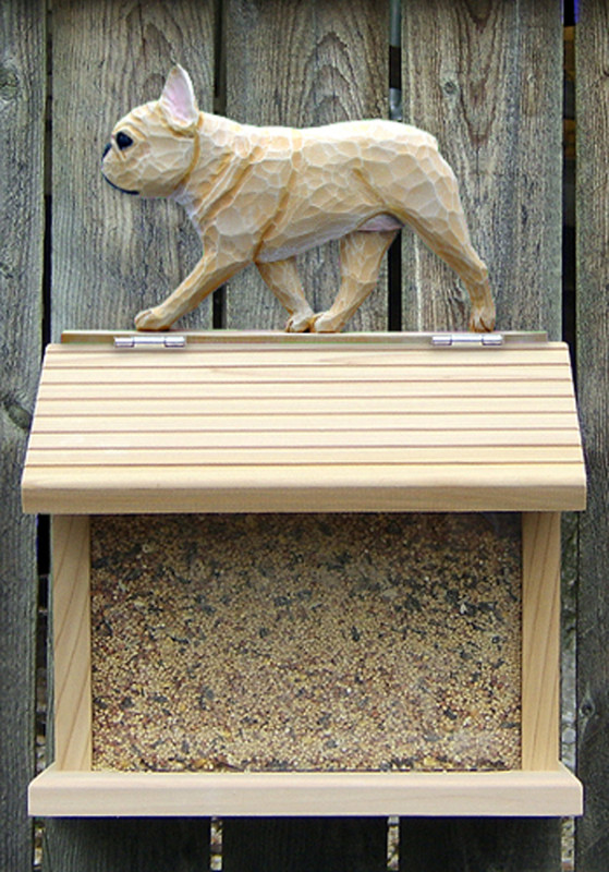 French Bulldog Hand Painted Dog Bird Feeder Fawn