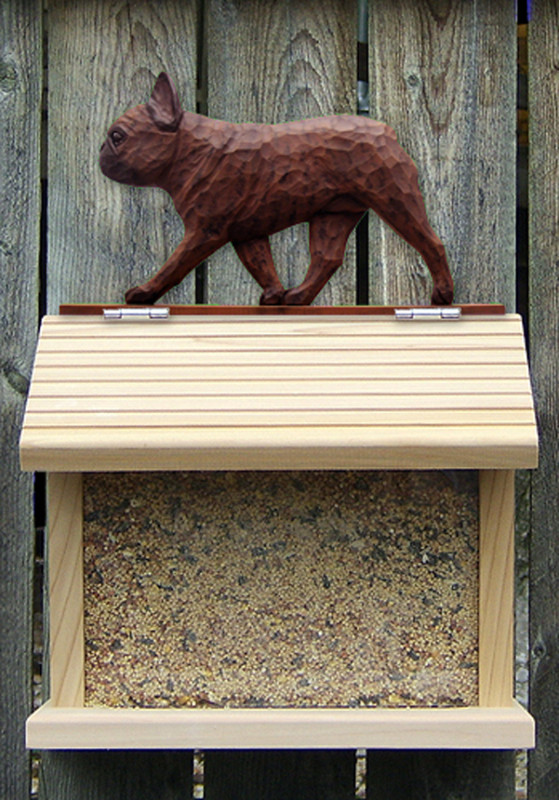 French Bulldog Hand Painted Dog Bird Feeder Red Brindle