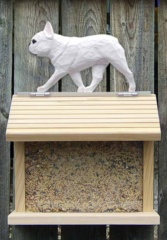French Bulldog Hand Painted Dog Bird Feeder White