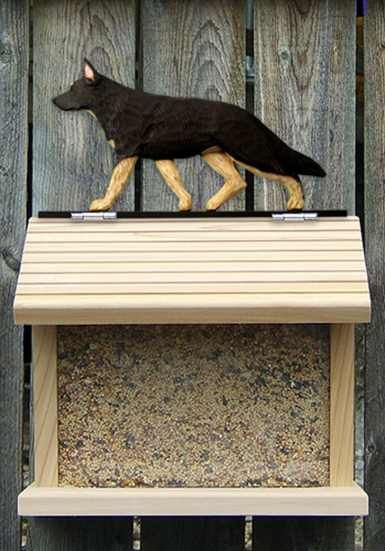 German Shepherd Hand Painted Dog Bird Feeder Black w/ Tan Points