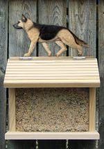 German Shepherd Hand Painted Dog Bird Feeder Tan w/ Black Saddle
