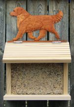 Golden Retriever Hand Painted Dog Bird Feeder Dark