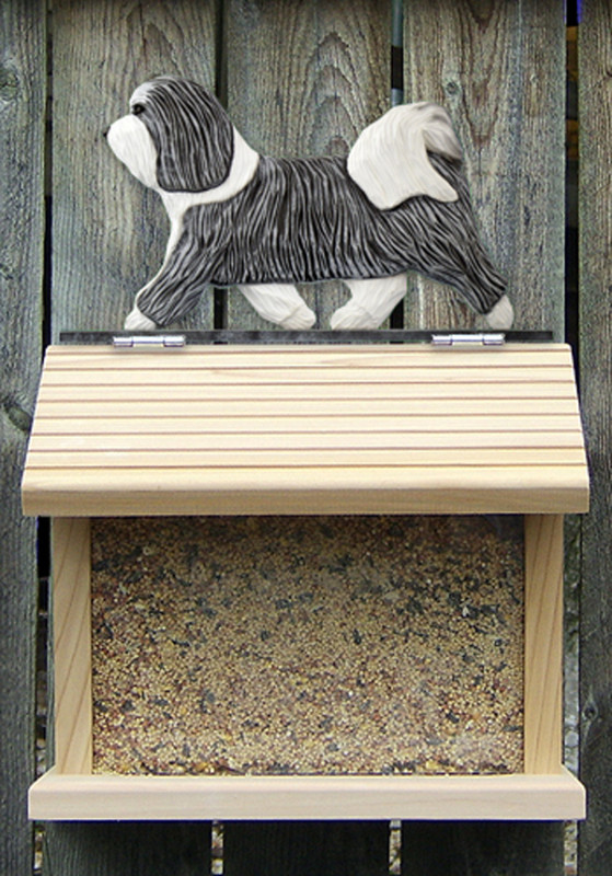 Havanese Hand Painted Dog Bird Feeder Gray/White