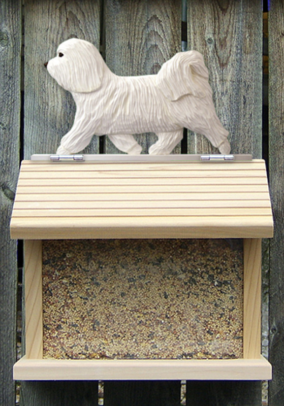 Havanese Hand Painted Dog Bird Feeder White