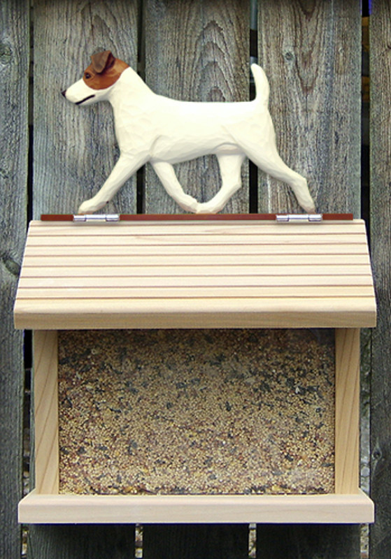 Jack Russell Terrier Hand Painted Dog Bird Feeder Brown/White