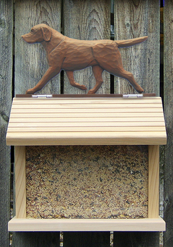 Chocolate Labrador Hand Painted Dog Bird Feeder