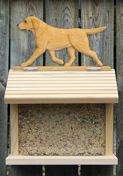 Yellow Labrador Hand Painted Dog Bird Feeder 1
