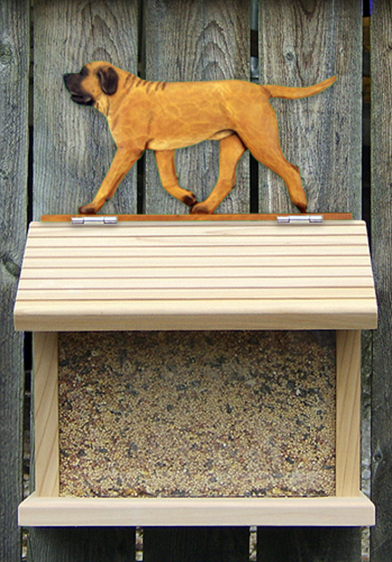 Mastiff Hand Painted Dog Bird Feeder Apricot