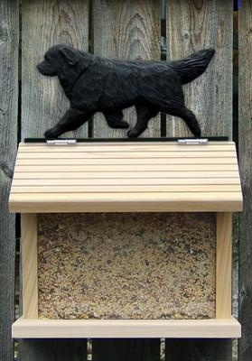 Newfoundland Hand Painted Dog Bird Feeder Black 1