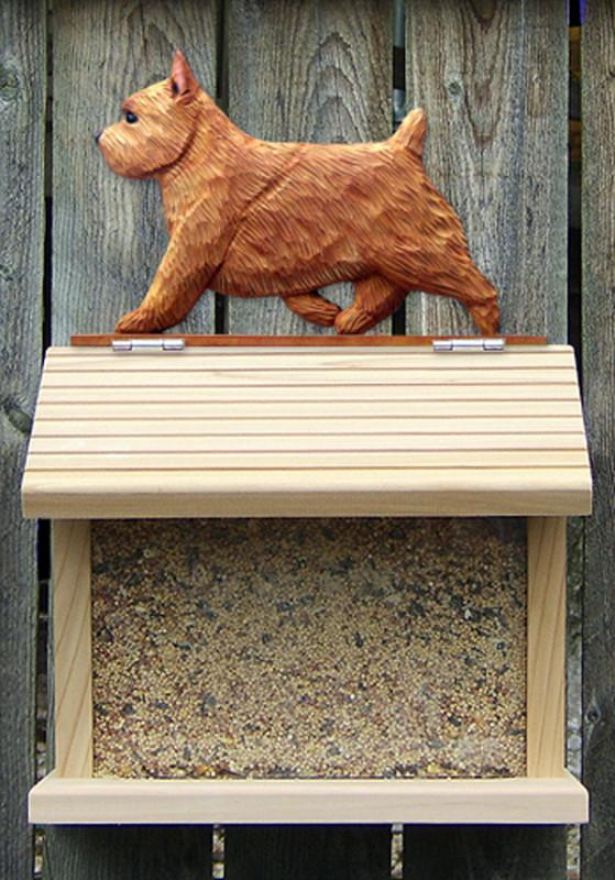 Norwich Terrier Hand Painted Dog Bird Feeder Red