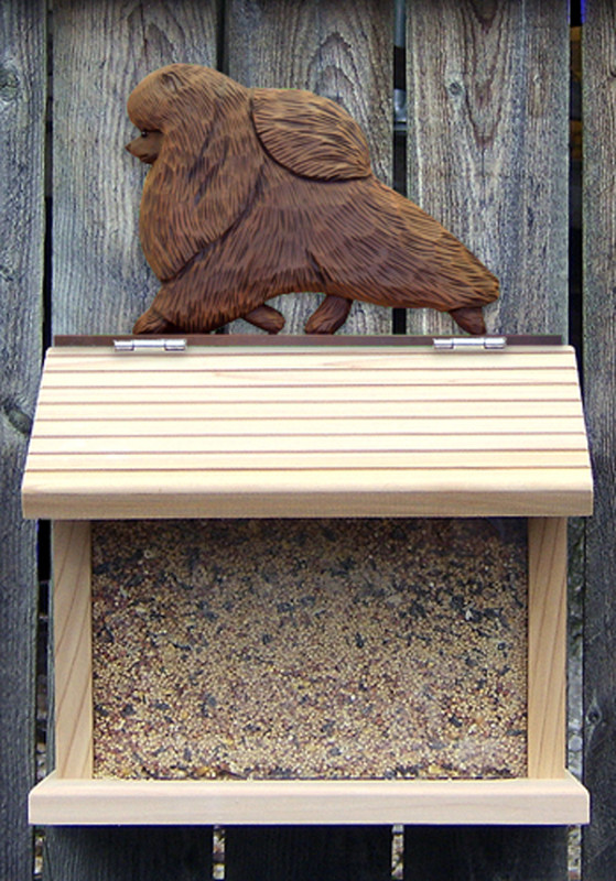 Pomeranian Hand Painted Dog Bird Feeder Brown
