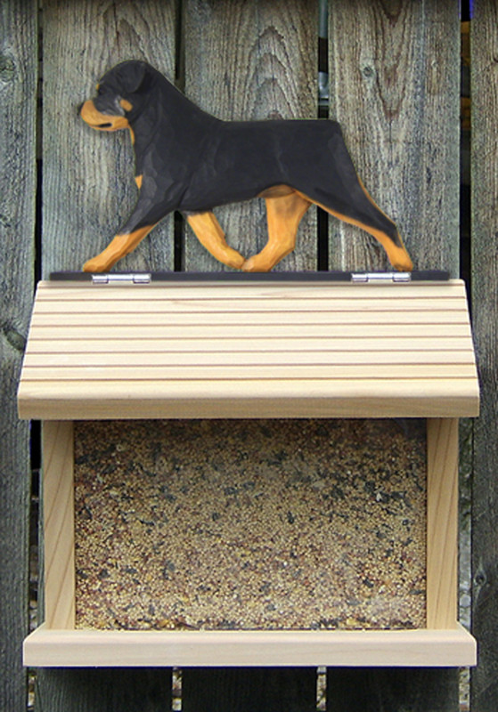 Rottweiler Hand Painted Dog Bird Feeder
