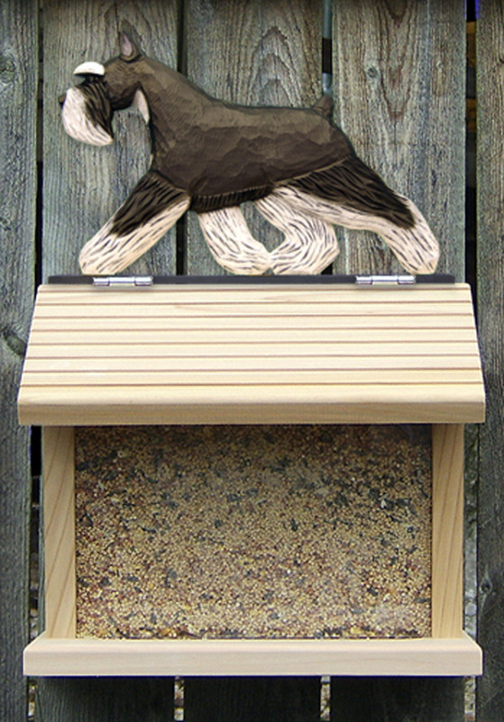 Mini Schnauzer Hand Painted Dog Bird Feeder Black/Silver