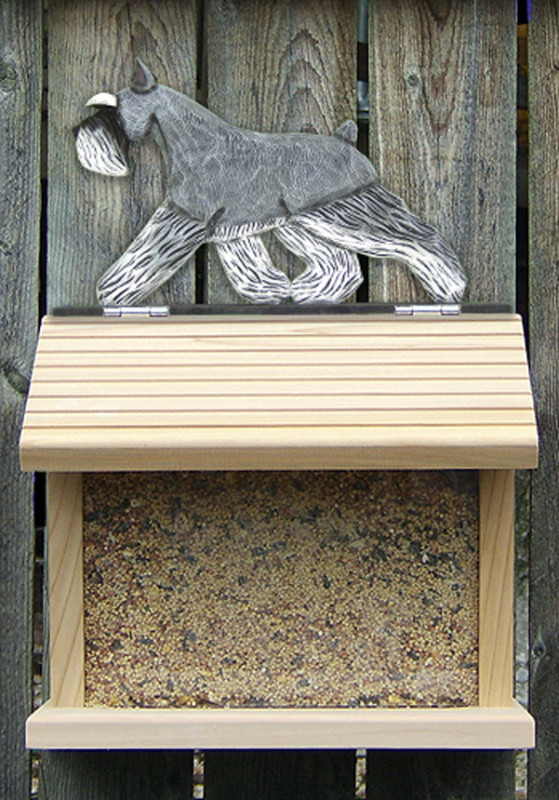 Mini Schnauzer Hand Painted Dog Bird Feeder Salt/Pepper