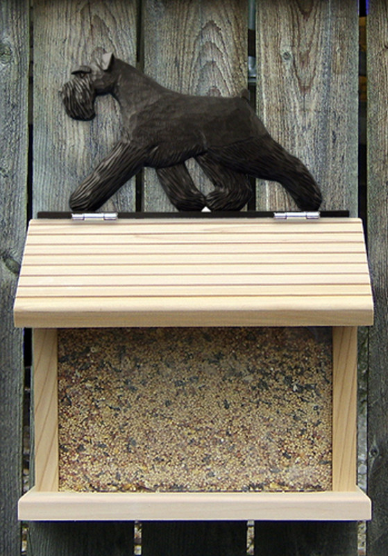Schnauzer Uncropped Hand Painted Dog Bird Feeder Black