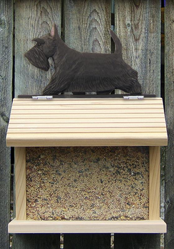 Scottish Terrier Hand Painted Dog Bird Feeder Black