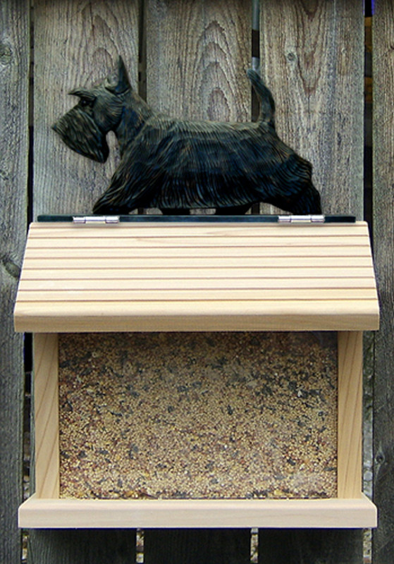 Scottish Terrier Hand Painted Dog Bird Feeder Brindle