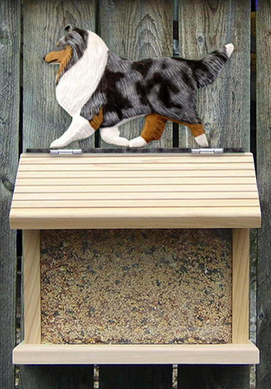 Shetland Sheepdog Hand Painted Dog Bird Feeder Blue Merle