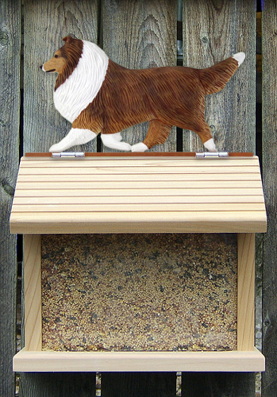 Shetland Sheepdog Hand Painted Dog Bird Feeder Sable
