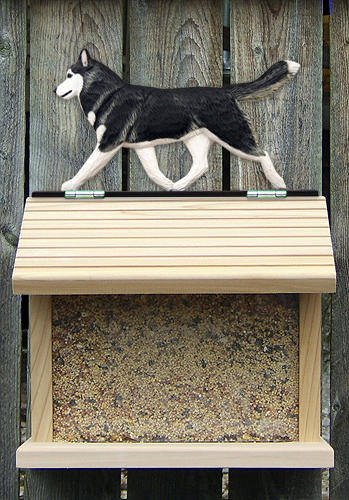 Siberian Husky Black White Outdoor Wood Bird Feeder
