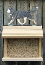 Siberian Husky Gray White Outdoor Wood Bird Feeder