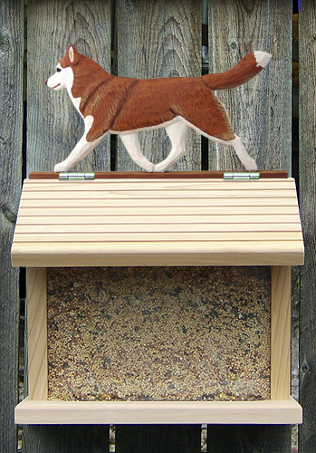 Siberian Husky Red White Outdoor Wood Bird Feeder