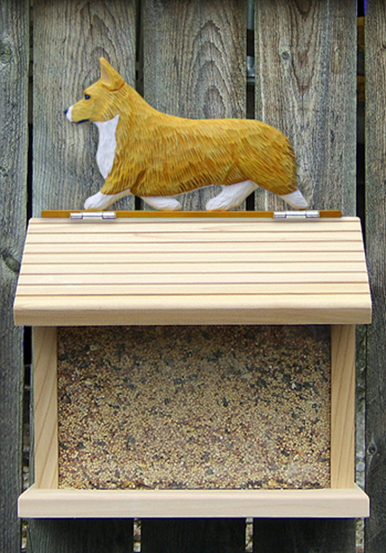 Welsh Corgi Pembroke Hand Painted Dog Bird Feeder Blonde