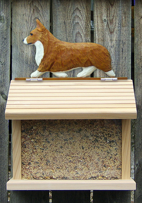 Welsh Corgi Pembroke Hand Painted Dog Bird Feeder Red