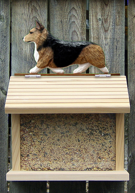 Welsh Corgi Pembroke Hand Painted Dog Bird Feeder Sable