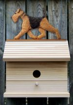 Airedale Hand Painted Dog Bird House