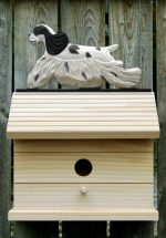 American Cocker Spaniel Hand Painted Dog Bird House Black Parti