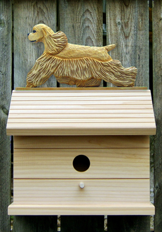 American Cocker Spaniel Hand Painted Dog Bird House Buff