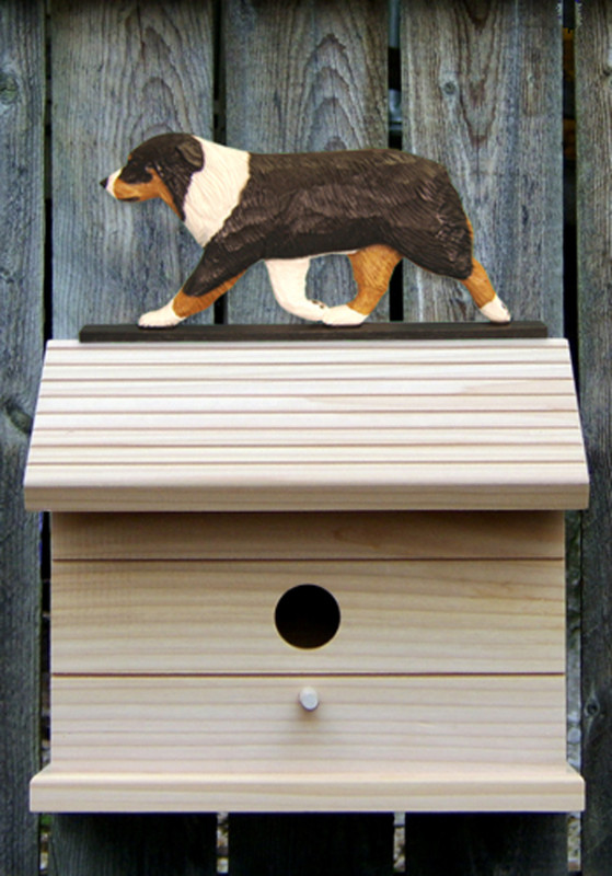 Australian Shepherd Hand Painted Dog Bird House Black Tri