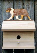 Australian Shepherd Hand Painted Dog Bird House Red Merle