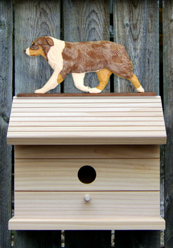 Australian Shepherd Hand Painted Dog Bird House Red Merle