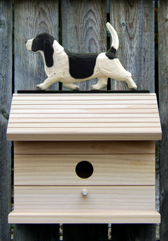 Basset Hound Hand Painted Dog Bird House Black/White