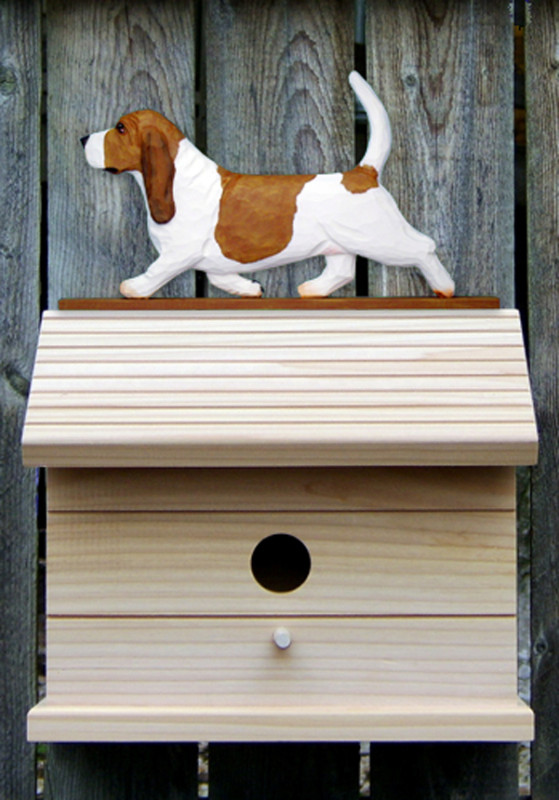 Basset Hound Hand Painted Dog Bird House Red/White