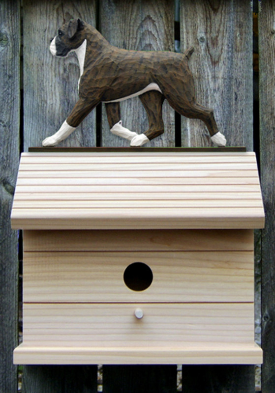 Boxer Uncropped Hand Painted Dog Bird House Brindle