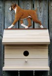 Boxer Uncropped Hand Painted Dog Bird House Fawn