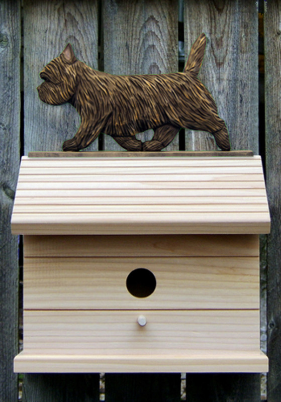 Cairn Terrier Hand Painted Dog Bird House Black Brindle