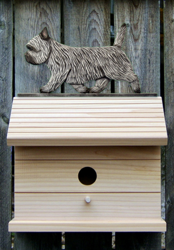 Cairn Terrier Hand Painted Dog Bird House Light Gray