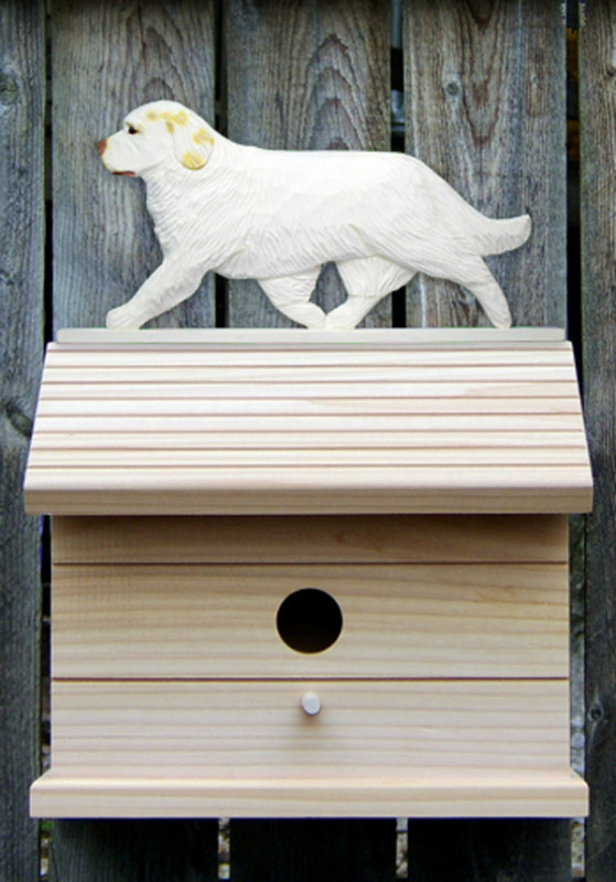 Clumber Spaniel Hand Painted Dog Bird House Lemon