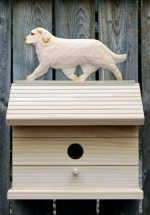 Clumber Spaniel Hand Painted Dog Bird House Orange