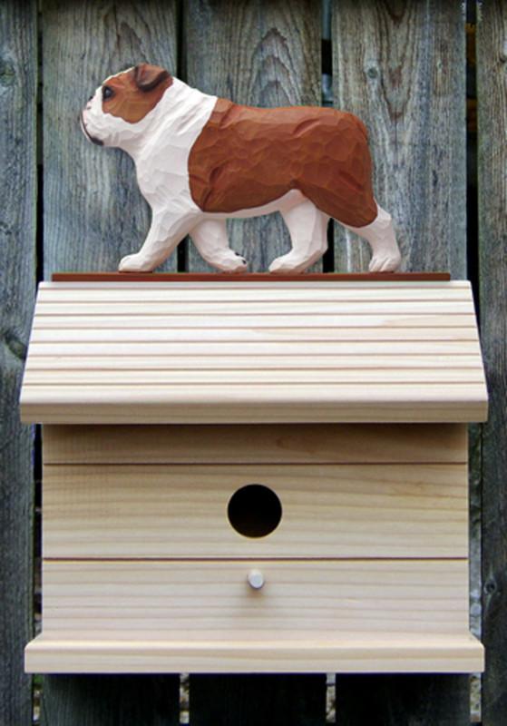 English Bulldog Hand Painted Dog Bird House Red
