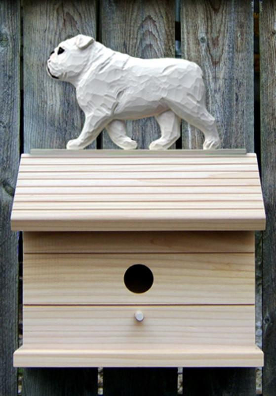 English Bulldog Hand Painted Dog Bird House White