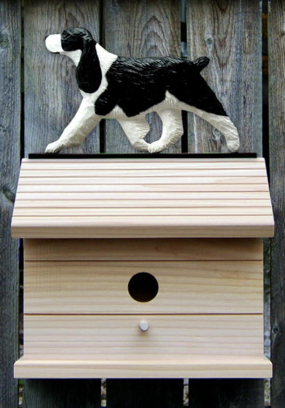 English Springer Spaniel Hand Painted Dog Bird House Black