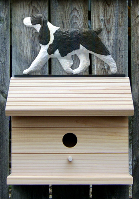 English Springer Spaniel Hand Painted Dog Bird House Liver