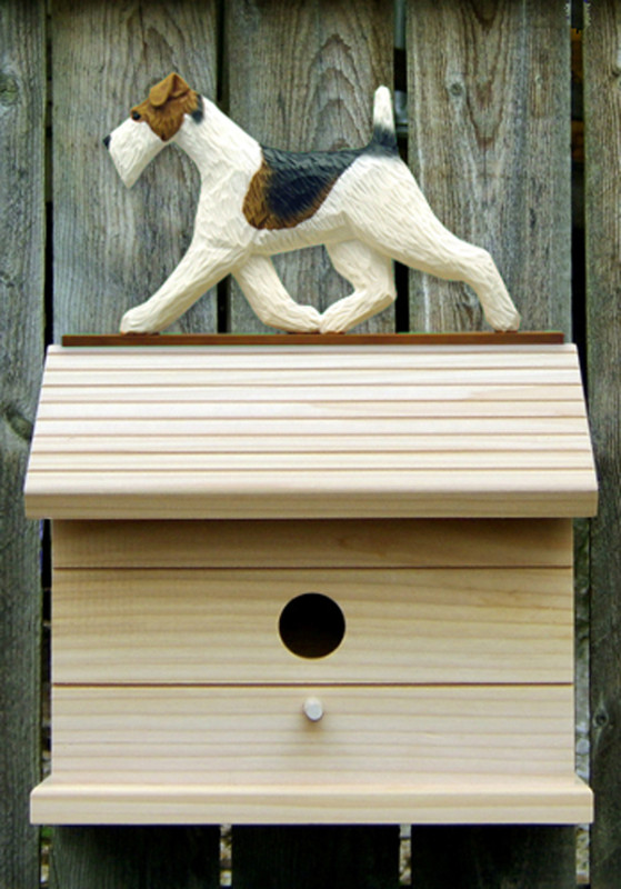 Wire Fox Terrier Hand Painted Dog Bird House