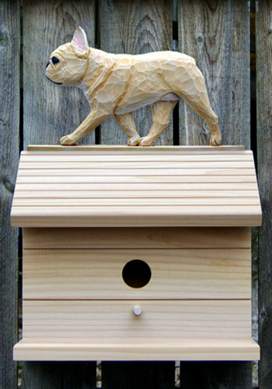 French Bulldog Hand Painted Dog Bird House Fawn